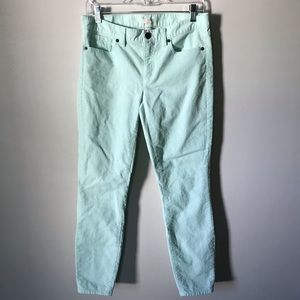 J. Crew Stretch Skinny Corduroy Green Mint 27